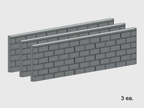 5' Block Wall - 3-Long Jointed Splices in White Natural Versatile Plastic: 1:87 - HO