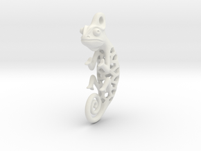 Chameleon Pendant in White Natural Versatile Plastic: Small
