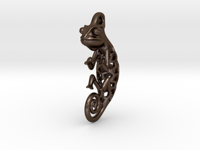 Chameleon Pendant in Polished Bronze Steel: Small
