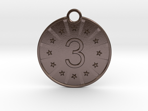 Medaille Bronze in Polished Bronze Steel