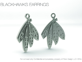 Blackhawks Earrings in Polished Bronzed Silver Steel