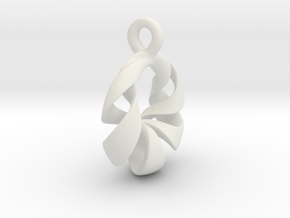 Torus Pendant Type A in White Natural Versatile Plastic: Small