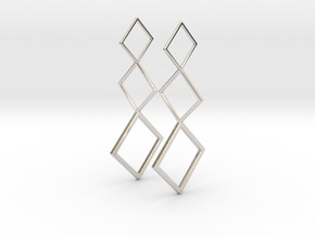 Square Earrings in Rhodium Plated Brass