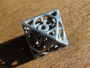 Cage Die8 in Polished Bronzed Silver Steel