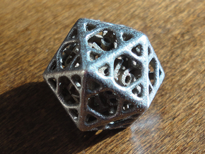 Cage d20 in Polished Bronzed Silver Steel
