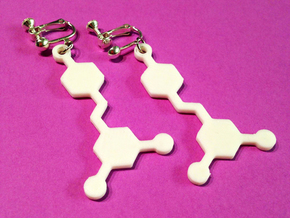 Resveratrol Red Wine Molecule Earrings in White Processed Versatile Plastic