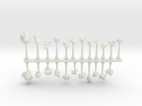 Crystal and Rock Asteroids sprue in White Natural Versatile Plastic