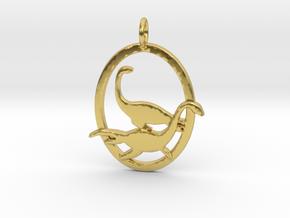 Plesiosaur dinosaur pendant necklace in Polished Brass