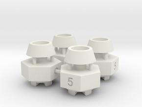 Schumacher CAT / Cougar hex adaptor - 5mm x 4 off in White Natural Versatile Plastic