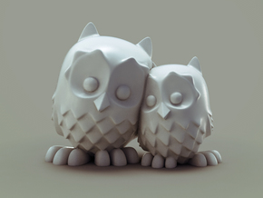CuddlingOwls 50mm / 1.96 inches Tall in White Processed Versatile Plastic
