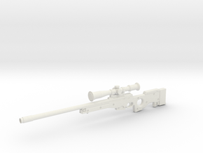 1:12 Miniature Arctic Warfare Magnum Sniper Rifle in White Natural Versatile Plastic