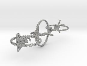 voronoi three yoga poses earring pendant in Aluminum