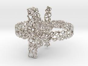 voronoi yoga earring pendant 3mm in Rhodium Plated Brass