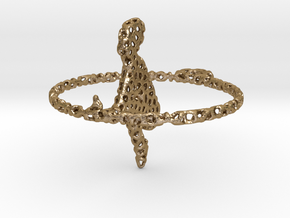 voronoi yoga earring pendant in Polished Gold Steel