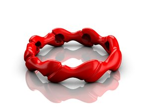 Wave bracelet 80 in Red Processed Versatile Plastic