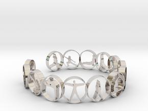 Yoga bangle 57.2 mm in Rhodium Plated Brass