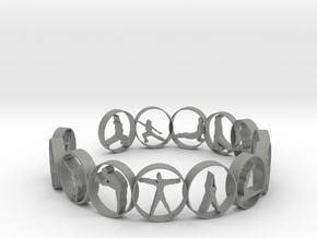 Yoga bangle with 14 poses 70mm in Gray PA12