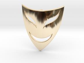 Drama Mask Pendant - Happy  in 14K Yellow Gold