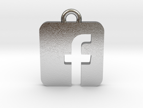 Facebook logo all materials necklace keychain gift in Natural Silver