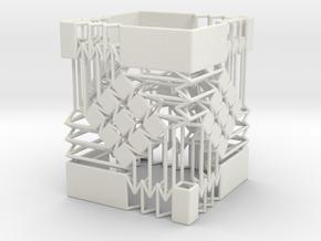 Square Wire Tube With Tessellation Single in White Natural Versatile Plastic