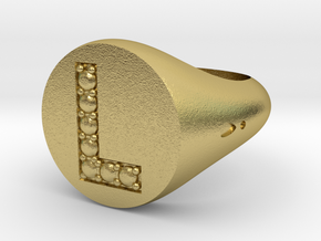 """Ring Chevalière Initial """"L"""" in Natural Brass: 5 / 49"""