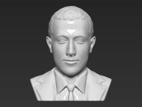 Mark Zuckerberg bust in White Natural Versatile Plastic