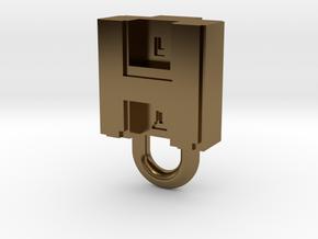 Puma Punku H-block Pendant 1,5cm in Polished Bronze