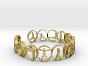 Yoga bangle with 14 poses. 66.9 mm in Natural Brass
