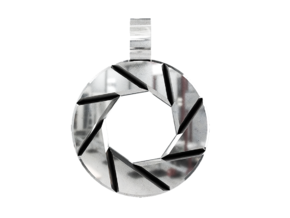 Aperture Science Pendant in Polished Silver