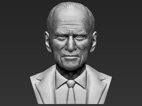 Prince Philip bust in White Natural Versatile Plastic