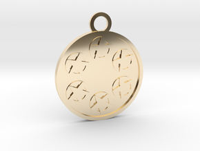 Six of Pentacles in 14k Gold Plated Brass