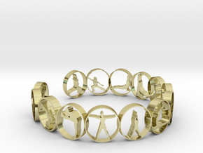 18.11 mm ring 14 poses  in 18k Gold Plated Brass