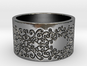 Vines Ring in Fine Detail Polished Silver
