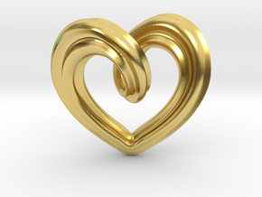 Heart Pendant Type A in Polished Brass: Small