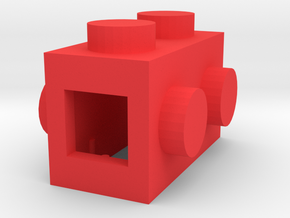 Custom LEGO-inspired brick 2x1 in Red Processed Versatile Plastic