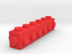 Custom LEGO-inspired brick 6x1 in Red Processed Versatile Plastic