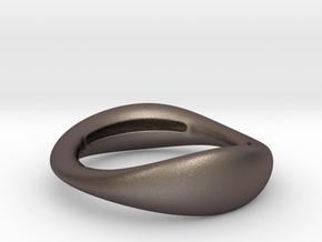 Sculptural Bracelet  MIRIAM Black Steel-1-60-2 in Polished Bronzed-Silver Steel