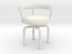 Miniature LC7 Chair - Le Corbusier in White Natural Versatile Plastic: 1:12