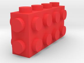 Custom LEGO-inspired brick 4x1x2 in Red Processed Versatile Plastic