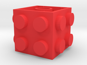 Custom LEGO-inspired brick 2x2x2 in Red Processed Versatile Plastic