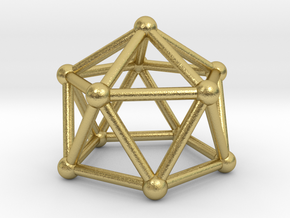 0750 J11 Gyroelongated Pentagonal Pyramid #2 in Natural Brass
