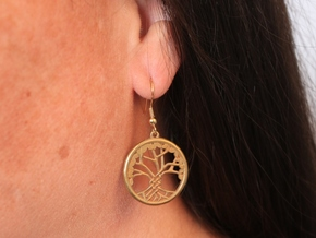 Tree Of Life Earrings in Raw Brass