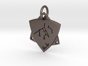 Constellation Ursa Major keychain in Polished Bronzed-Silver Steel: Small