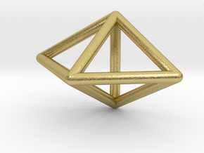 0752 J12 Triangular Bipyramid E (a=1cm) #1 in Natural Brass