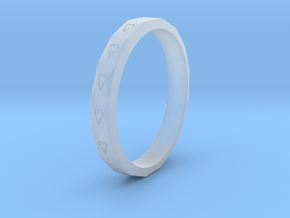 Digital Heart Ring 3 in Smooth Fine Detail Plastic