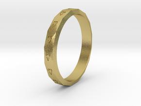 Digital Heart Ring 3 in Natural Brass