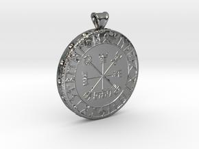 Icelandic Vegvisir Pendant in Polished Silver