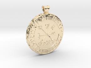 Icelandic Vegvisir Pendant in 14k Gold Plated Brass