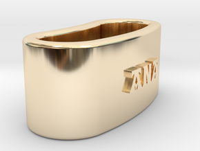 ANA 3D Napkin Ring with lauburu in 14K Yellow Gold