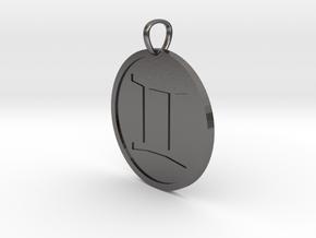 Gemini Medallion in Polished Nickel Steel